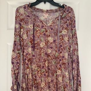 Floral Purple Long Sleeve Dress
